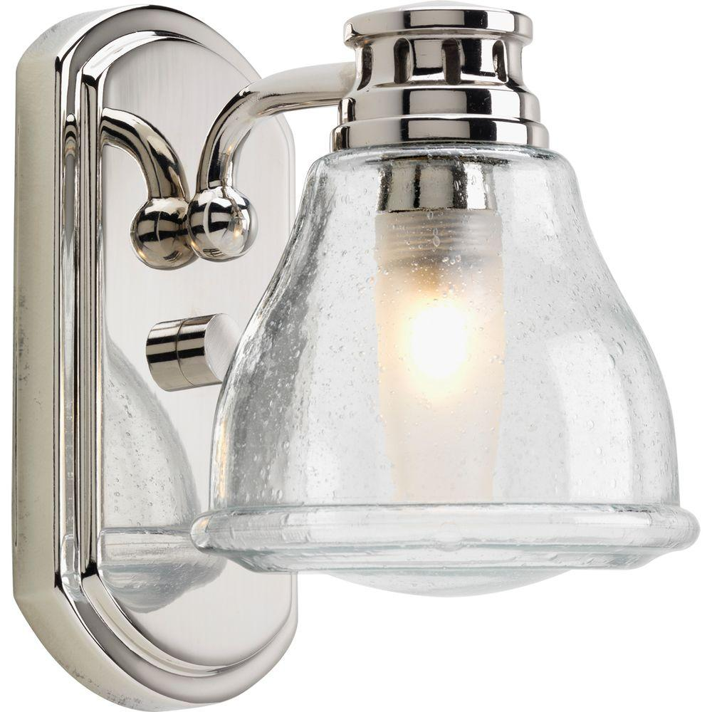 Progress lighting academy collection 1 light polished chrome bath progress lighting academy collection 1 light polished chrome bath sconce with clear seeded glass shade aloadofball Images