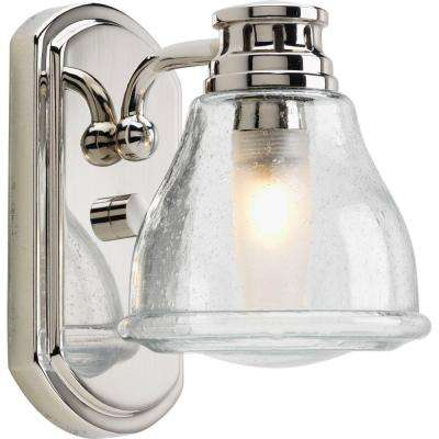 Academy Collection 1-Light Polished Chrome Bath Sconce with Clear Seeded Glass Shade