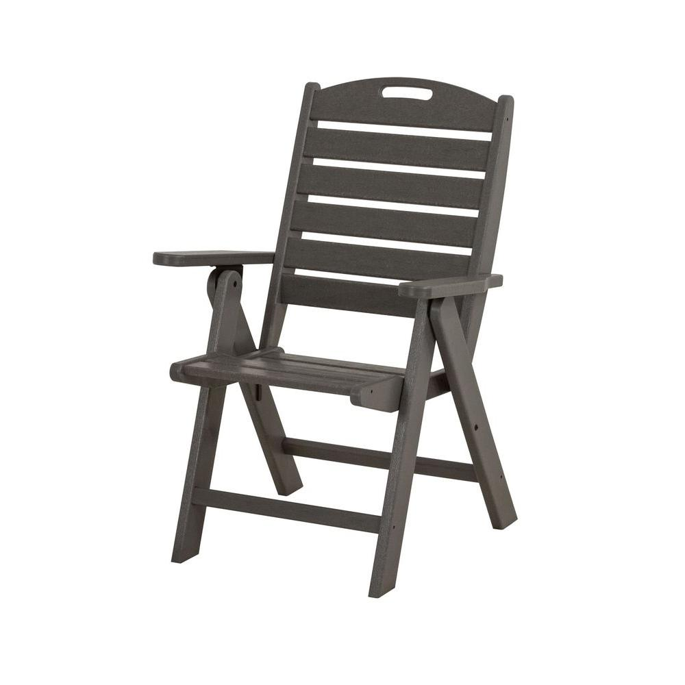 Nautical Highback Slate Grey Plastic Outdoor Patio Dining Chair