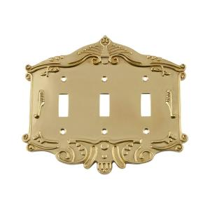 Nostalgic Warehouse Victorian Switch Plate with Triple Toggle in Unlacquered... by Nostalgic Warehouse