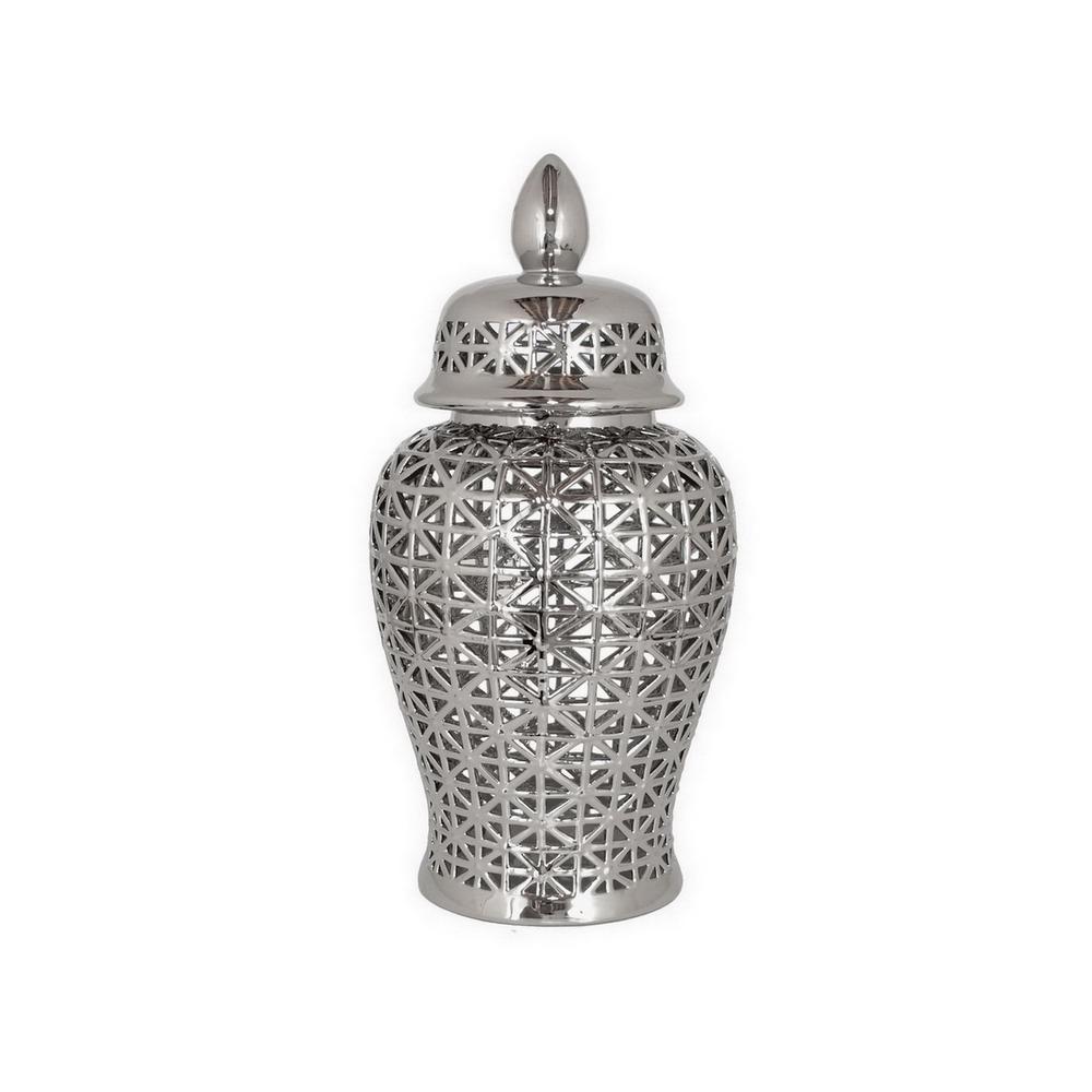 24 in. Ceramic Pierced Temple Jar