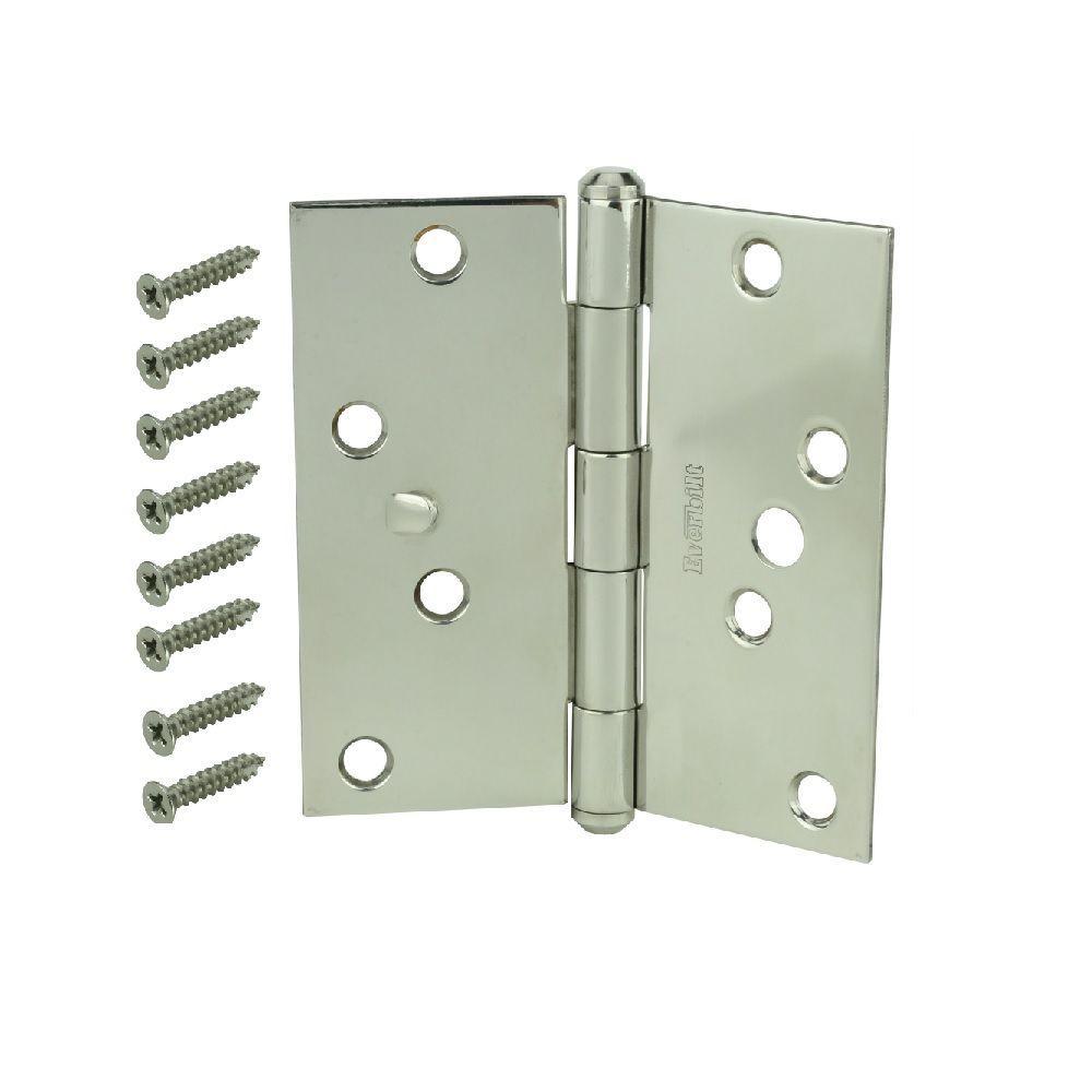 4 in. Stainless Steel Square Corner Security Door Hinge