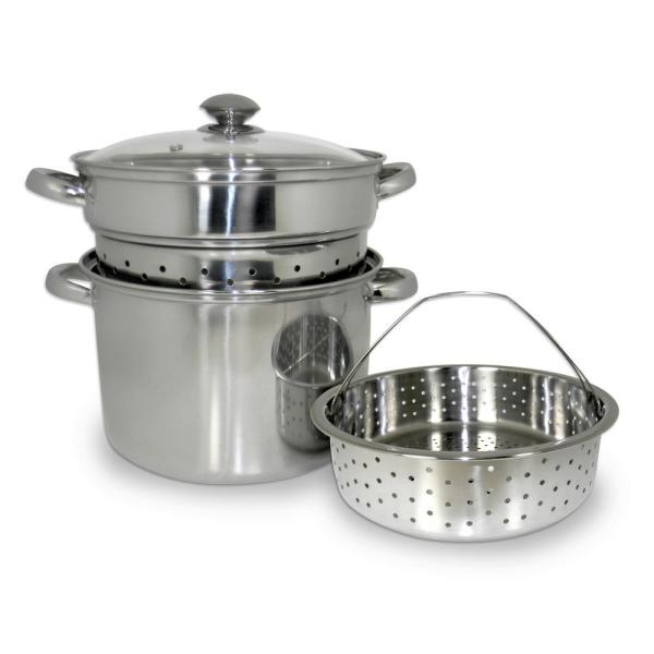 ExcelSteel 8 Qt. 4-Piece 18/10 Stainless Steel Multi-Cooker with Baskets and
