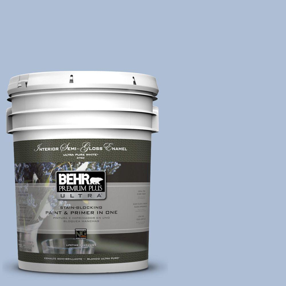 BEHR Premium Plus Ultra 5-gal. #580E-3 Sweet Blue Semi-Gloss Enamel Interior Paint