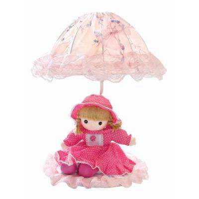 Designer Collection 18 in. Pink Baby Doll Table Lamp with Pink Fabric Shade