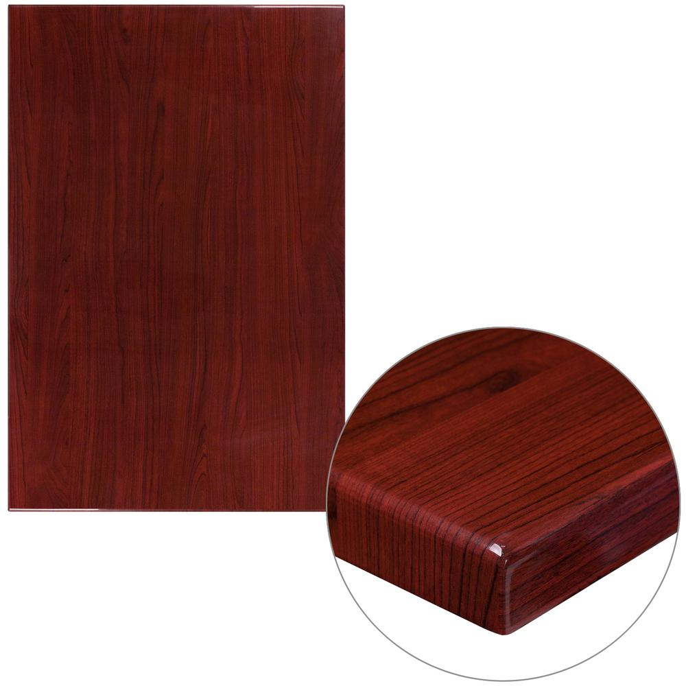 30 in. x 45 in. High-Gloss Mahogany Resin Table Top with