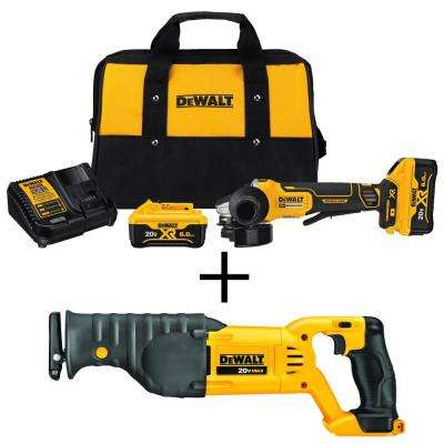 20-Volt MAX Lithium Ion Cordless 4-1/2 in. Brushless Paddle Switch Small Angle Grinder Kit w/Bonus Recip Saw (Tool-Only)