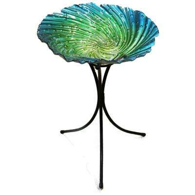26 in. Blue Birdbath with Stand
