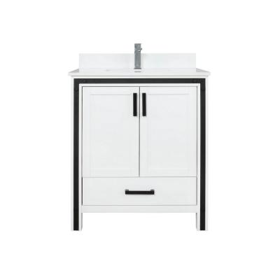 Ziva 30 in. W Single Bath Vanity in White with Marble Vanity Top in White Cultured, White Basin