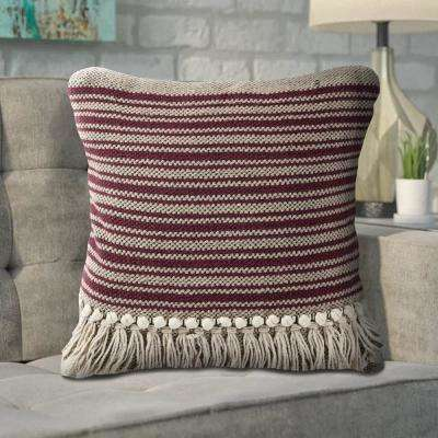 Zanthia Merlot Maroon Black 20 in. x 20 in.   Indoor Throw Pillow