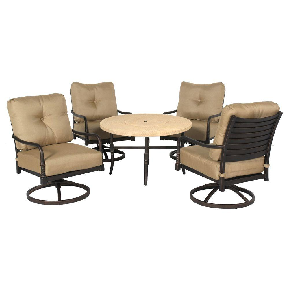 Hampton Bay Madison 5-Piece Patio Fire Pit Chat Set with Textured Golden Wheat Cushions-DISCONTINUED