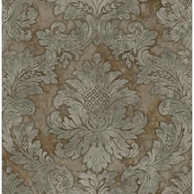 Hampstead Metallic Silver and Antique Gold Damask Wallpaper
