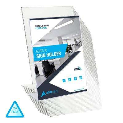 5 in. x 7 in. Slanted Side Loading Acrylic Sign Holder (24-Pack)