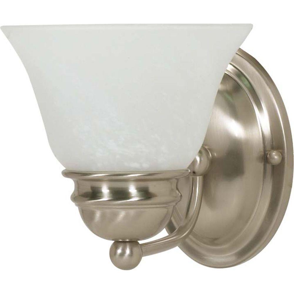 1-Light Brushed Nickel Incandescent Wall Vanity Light