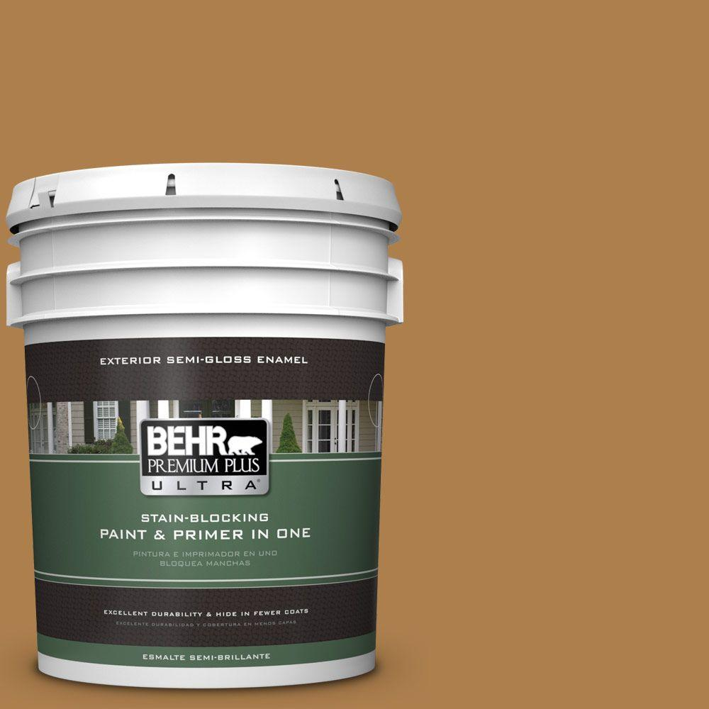 BEHR Premium Plus Ultra 5-gal. #PMD-106 Caramel Sauce Semi-Gloss Enamel Exterior Paint