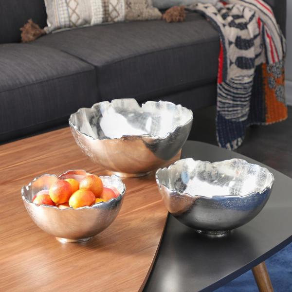 Decorative Jagged Top Silver Aluminum Bowls (Set of 3)
