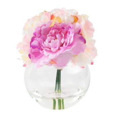 7.5 in. Peony Floral Pink Arrangement