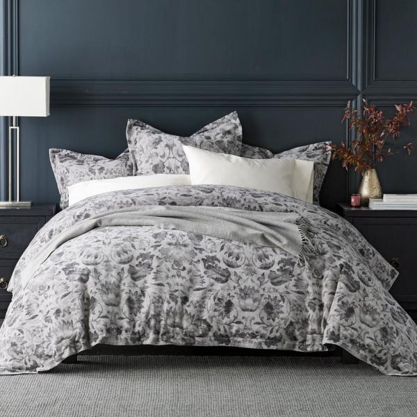 The Company Store Kingston Cotton Queen Duvet Cover in Gray 50495D-Q-GRAY