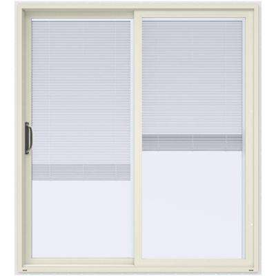 72 in. x 80 in. V-4500 French Vanilla Prehung Left-Hand Sliding Vinyl Patio Door with White Interior and Blinds