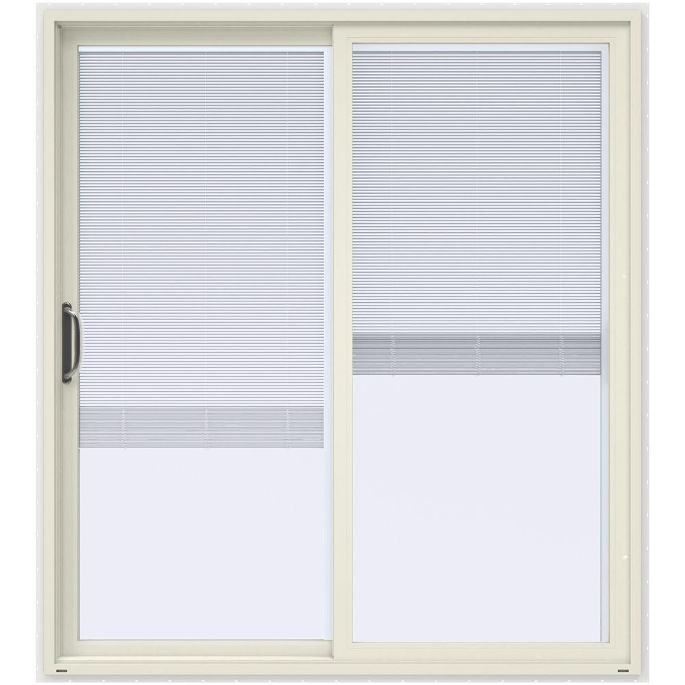 Jeld wen 72 in x 80 in v 4500 contemporary vanilla paint for 90 sliding patio door