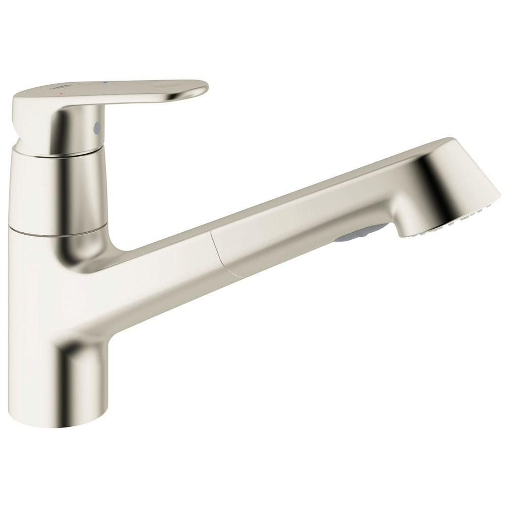 GROHE Europlus New Single Handle Pull Out Sprayer Kitchen Faucet In  SuperSteel