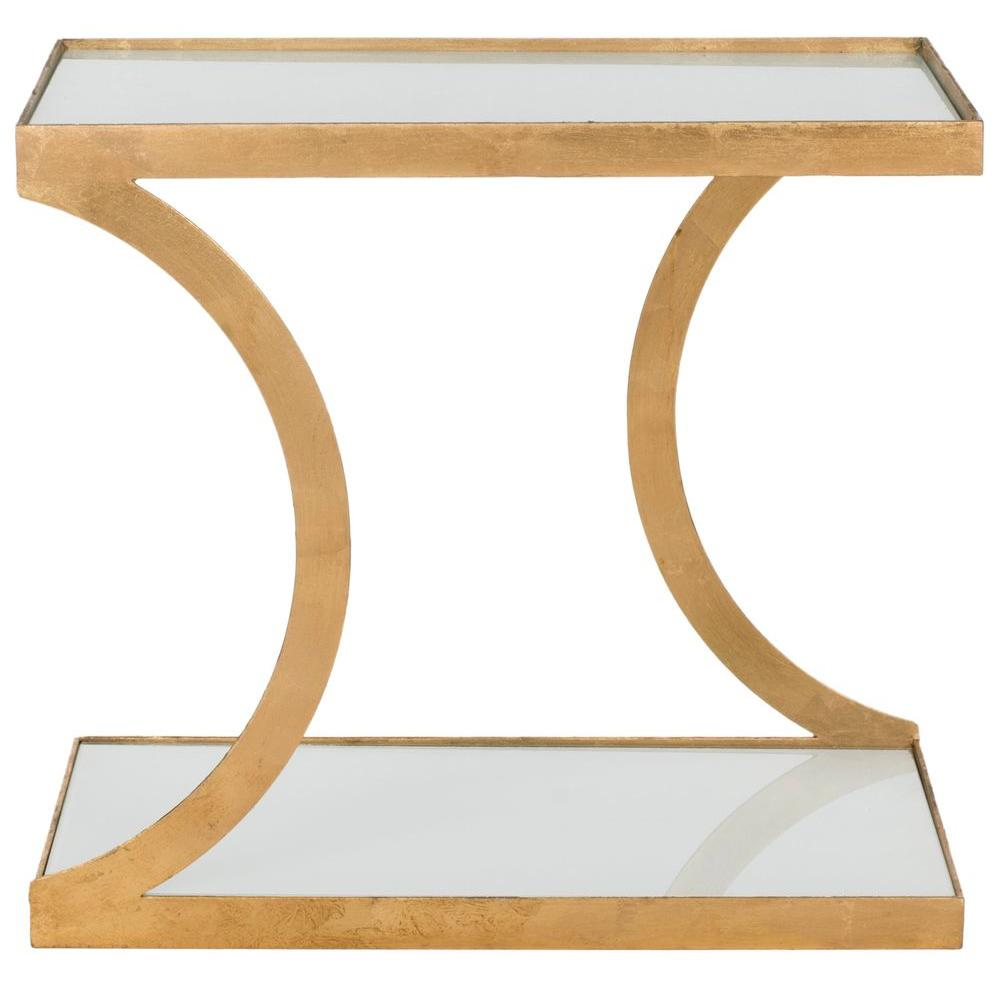 Safavieh Sullivan Gold And White Glass Top End Table