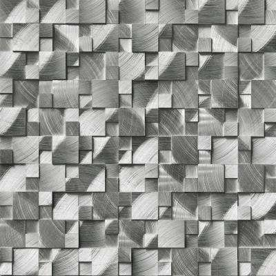 Silver Aluminum Pattern 11.81 in. x 12.4 in. x 8mm Brushed Metal Mesh-Mounted Mosaic Wall Tile (10.2 sq. ft. / case)