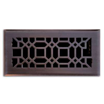 4 in. x 10 in. Oriental Floor Register in Oil Rubbed Bronze