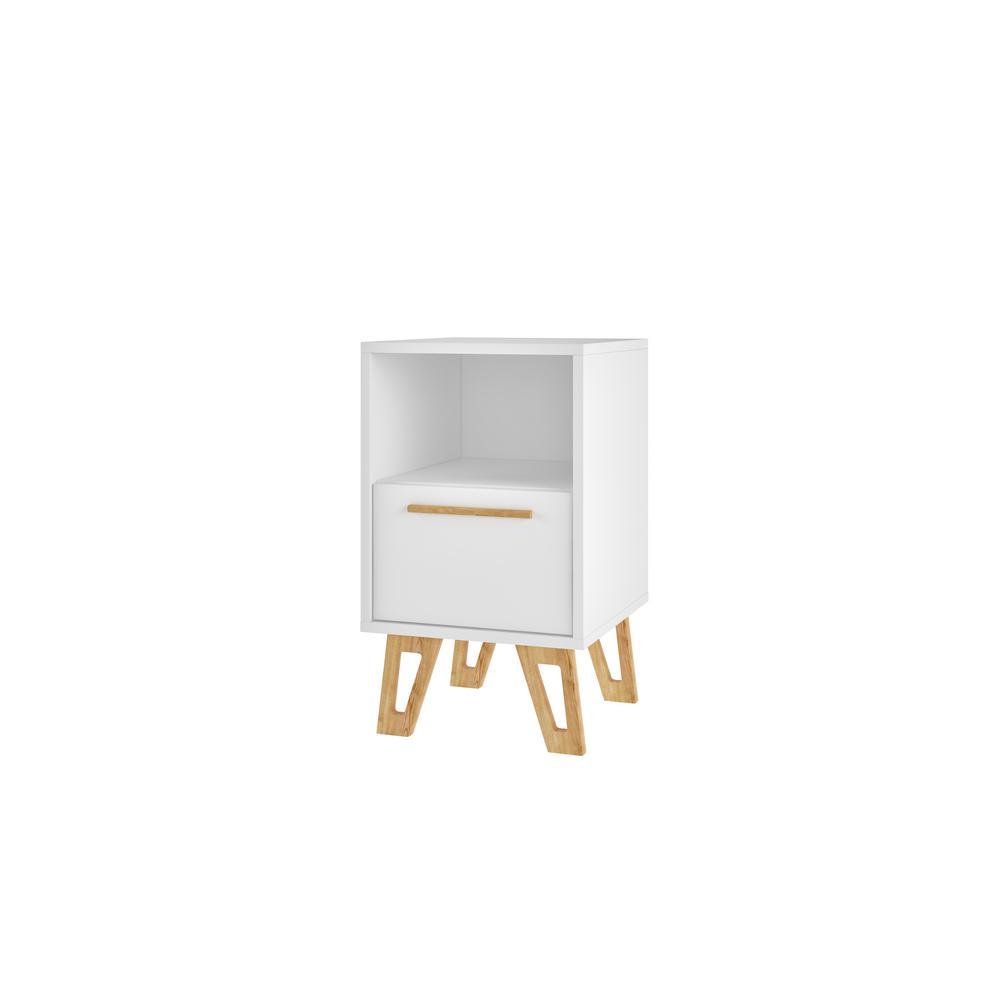 Fine Manhattan Comfort Doris 1 Drawer White Mid Century Andrewgaddart Wooden Chair Designs For Living Room Andrewgaddartcom
