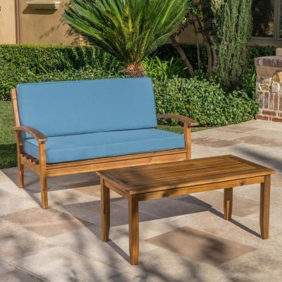Peyton Teak Brown 2-Piece Wood Outdoor Loveseat with Blue Cushions
