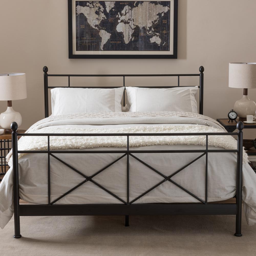 Barney Vintage Industrial Black Finished Metal Queen Size Bed