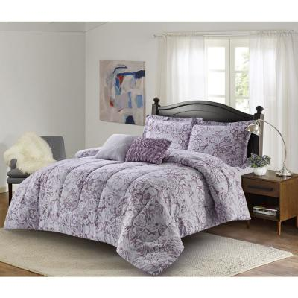 Amanda 5-Piece Purple Full/Queen Comforter Set