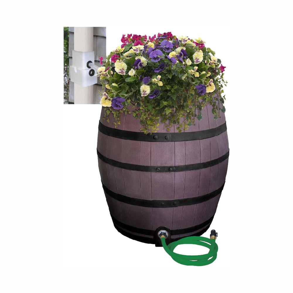 RESCUE 50 Gal. Brown Flat Back Whiskey Rain Barrel with Integrated Planter and Diverter System with Black Accent Bands