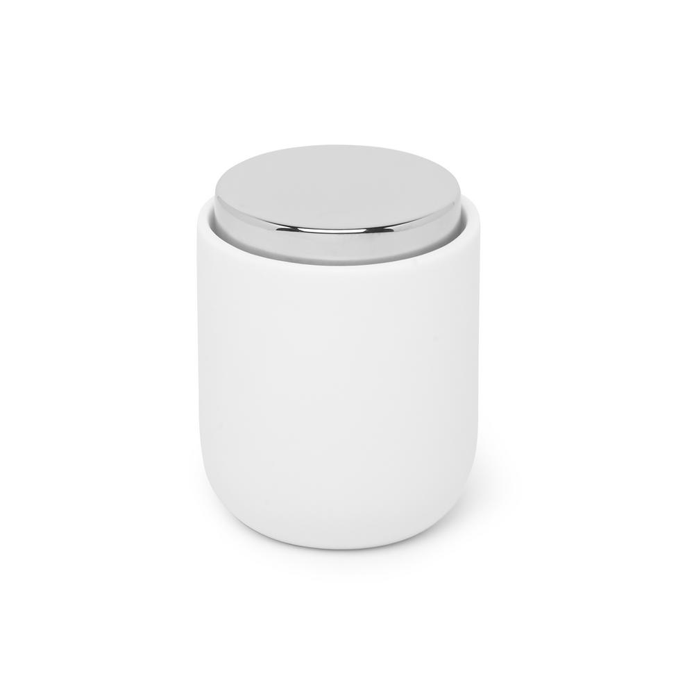Umbra Junip Canister with Lid in Chrome / White