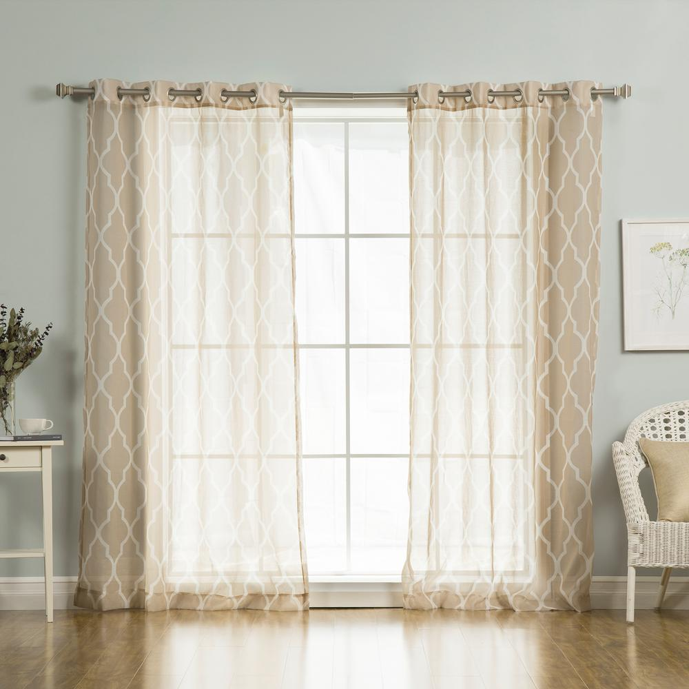 Best Home Fashion 96 In. L Sheer Moroccan Curtains In