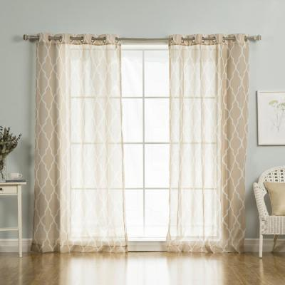 96 in. L Sheer Moroccan Curtains in Taupe (2-Pack)