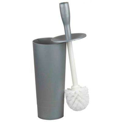 Plastic Toilet Brush Holder with Brush in Grey