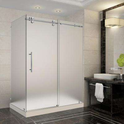 Langham 60 in. x 35 in. x 77.5 in. Frameless Sliding Shower Enclosure and Frosted in Stainless Steel with Left Base