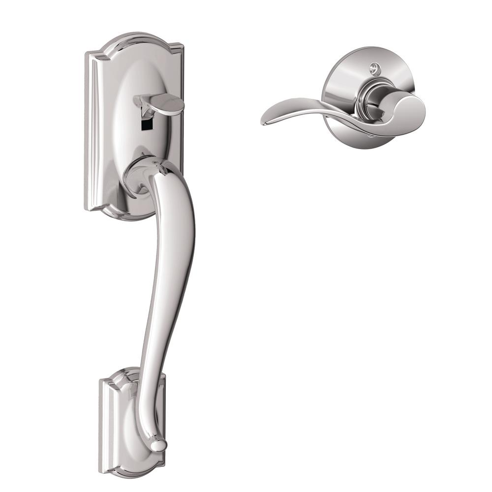 Schlage Camelot Satin Nickel Entry Door Handle With Right