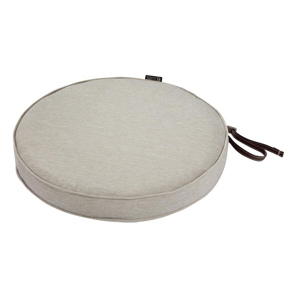 Classic Accessories Montlake Fade Safe Heather Grey 15 In Round Outdoor Seat Cushion