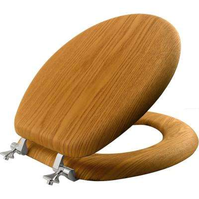 Round Closed Front Toilet Seat in Natural Oak
