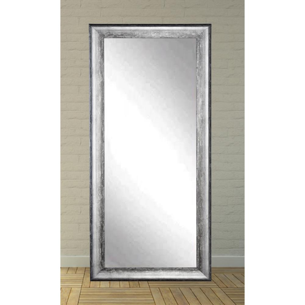 Aged silver lined tall framed mirror bm007t 1 the home depot for Framed floor mirror