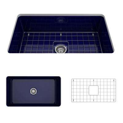 Sotto Undermount Fireclay 32 in. Single Bowl Kitchen Sink with Bottom Grid and Strainer in Sapphire Blue