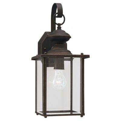 Jamestowne 1-Light Antique Bronze Outdoor 17 in. H Traditional Wall Lantern Sconce with Clear Beveled Glass Panels