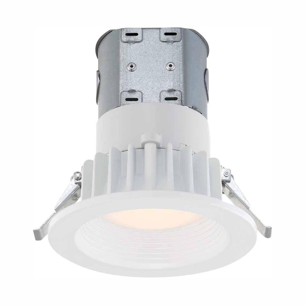 Commercial Electric Easy Up 4 In White Integrated Led Recessed Baffle Kit