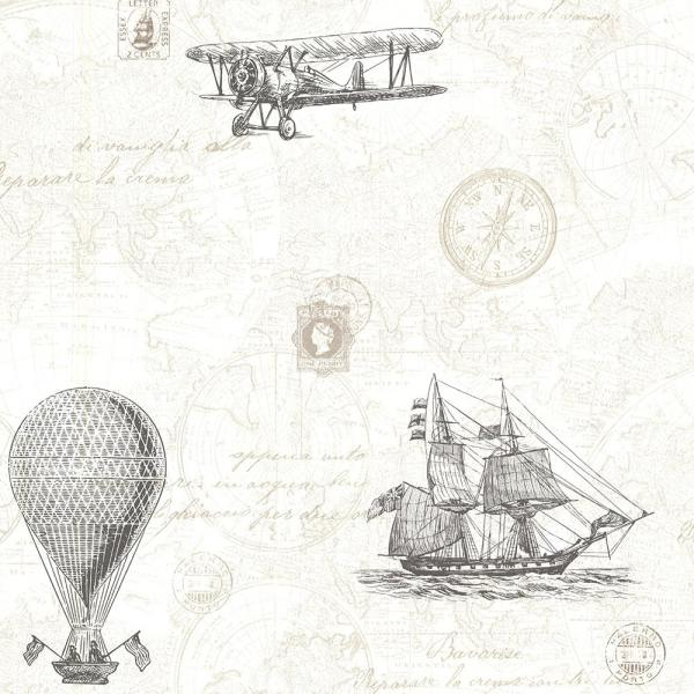 Beacon House 56.4 sq. ft. Explorer Fog Antique Map Wallpaper 2604-21244