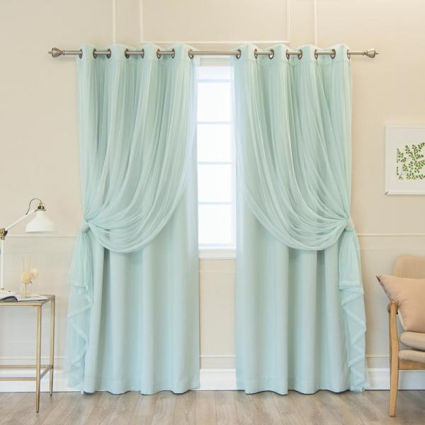 84 in. L uMIXm Mint  Tulle and Blackout Curtain Panel (4-Pack)