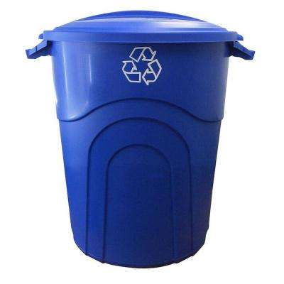 20 Gal. Injection Molded Trash Can in Recycling Blue