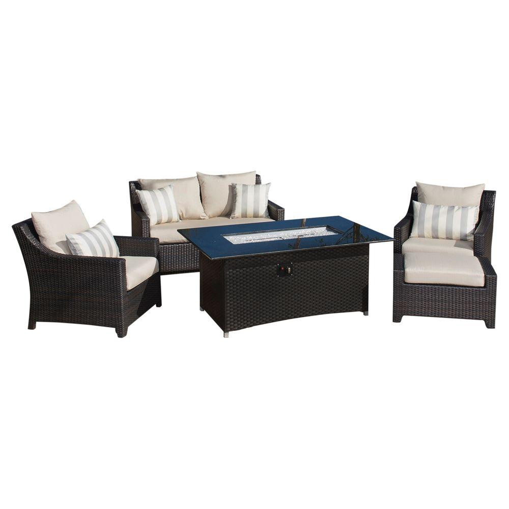 Deco 5-Piece Love and Club Patio Fire Pit Seating Set with