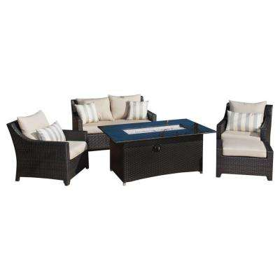 Deco 5-Piece Love and Club Patio Fire Pit Seating Set with Slate Grey Cushions